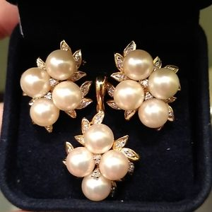 Pearl and diamond French clip earrings and pendant